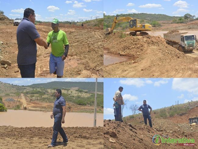 Betânia do Piauí: Prefeito Fabio visita obra da construção da barragem do Pé da Serra.