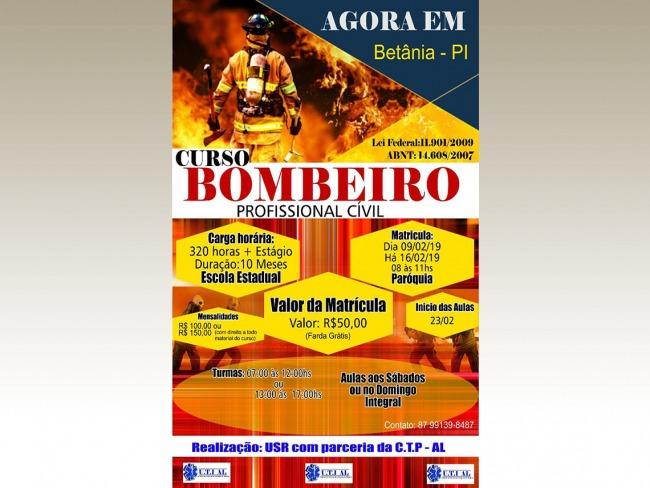 OPORTUNIDADE: Curso de formação para Bombeiro Profissional Cívil em Betânia do Piauí.