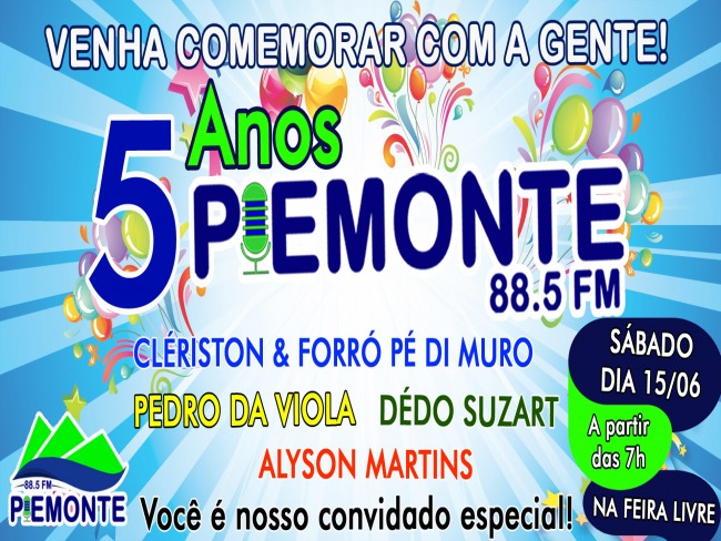 5 ANOS DA RÁDIO PIEMONTE FM 88.5 DE MIGUEL CALMON - BA.