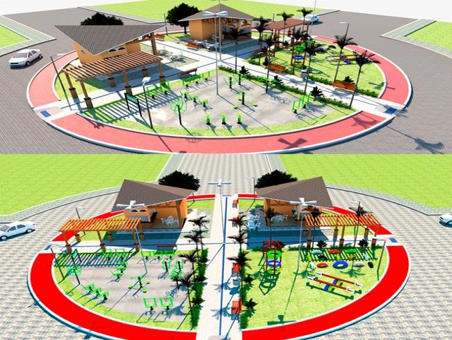 Área dos residenciais Petecas ganhará moderna praça com playground e academia