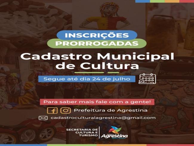 Prefeitura de Agrestina prorroga inscrições do Cadastro de Cultura
